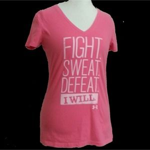 UNDER ARMOUR Pink Athletic Tee Fight Sweat Defeat